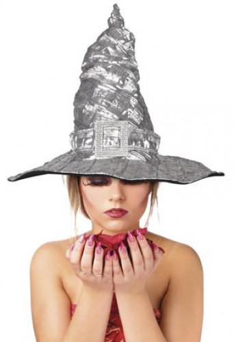 Chapeau de sorcière métalisé argent adulte Halloween