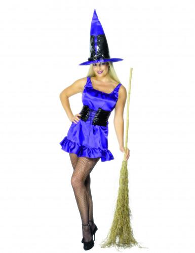 Déguisement de sorcière violette sexy Halloween