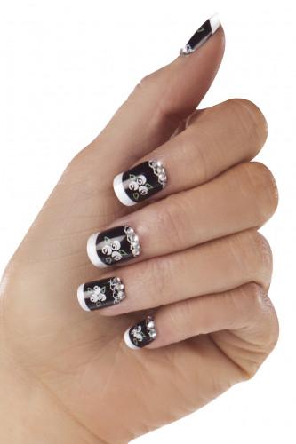 Kit faux ongles noirs et blancs