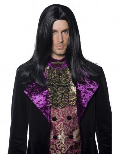 Perruque longue noire de comte homme Halloween