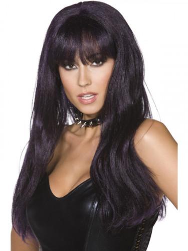 Perruque longue noire et violette de sorcière Halloween adulte