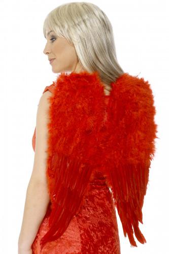 Ailes rouges à plumes pour adulte Halloween