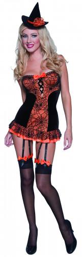 Déguisement de sorcière sexy orange et noir Halloween