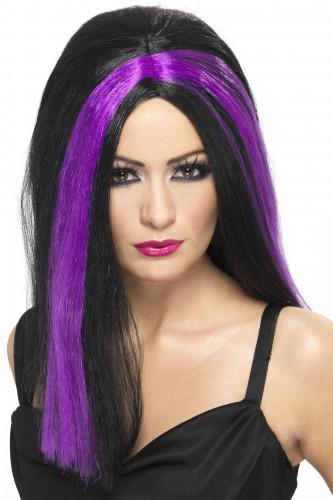 Perruque noire mèches violettes Halloween adulte