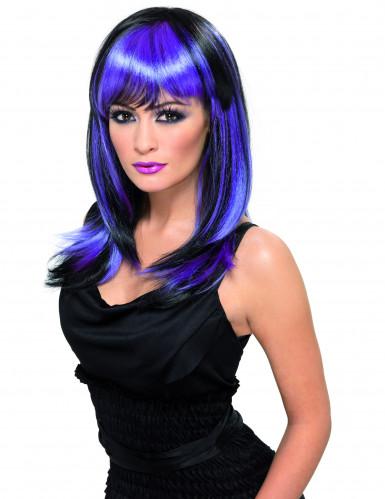 Perruque longue noire mèches violettes adulte