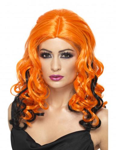 Perruque longue orange mèches noires femme Halloween