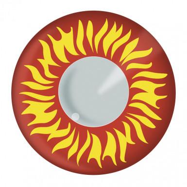 Paire de lentilles de contact rouges avec flammes adulte Halloween