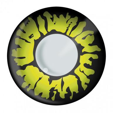 Paire de lentilles de contact noires et jaunes adulte Halloween