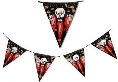 Guirlande fanions crâne ensanglanté Halloween