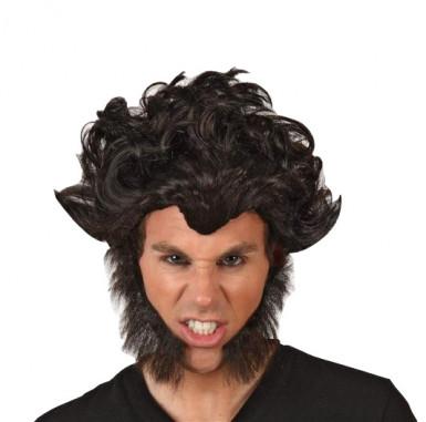 Perruque noire de loup garou adulte