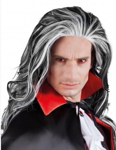 Perruque noir et blanche homme