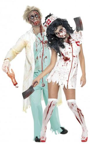 Déguisement de couple de zombie infirmier