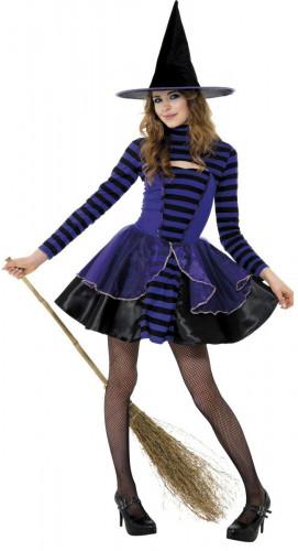 Déguisement sorcière bleu adolescente Halloween