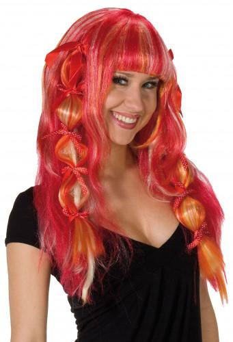 Perruque rouge à frange femme