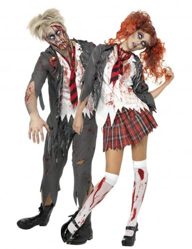 Déguisements de couple d'écoliers zombies Halloween