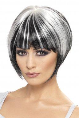 Perruque carrée noir et blanc femme