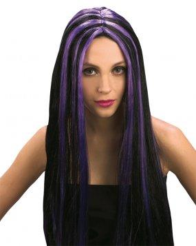 Perruque gothique noir et violet femme Halloween