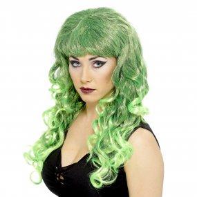 Perruque ondulée verte femme Halloween et Saint Patrick