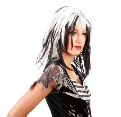 Perruque blanche et noire femme Halloween
