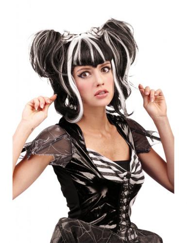 Perruque noire et blanche femme Halloween