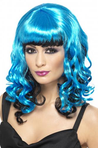 Perruque ange bicolore bleu et noir femme Halloween