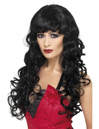 Perruque longue cheveux noirs adulte