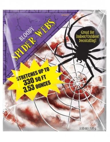 Décoration petite toile d'araignée ensanglantée Halloween